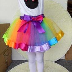 ซื้อ Moonar Kids Lovely Colorful Tutu Skirt Girls Rainbow Tulle Bowknot Belt Mini Veil Dress Intl Moonar ออนไลน์