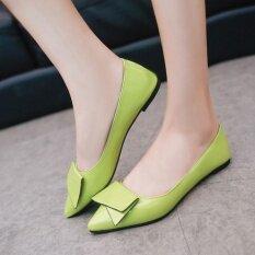 ซื้อ Moonar Korean Style Fashion Women Slip On Flat Bowknot Working Casual Doug Shoes Green Intl ใหม่