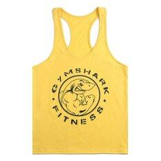 ทบทวน ที่สุด Moonar Men Gym Muscle Sleeveless Shirt Tank Top Sport Bodybuilding Shark Fitness Vest Yellow