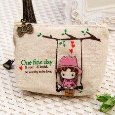 Moonar มินิผ้าใบน่ารักน่ารักสาวแกว่งกระเป๋าเหรียญการ์ตูนกระเป๋าสตางค์น่ารักกระเป๋า (สีขาว) กระเป๋าถือใส่นามบัตรที่ใส่กุญแจ-นานาชาติ.
