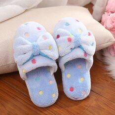 ราคา Moonar Women Bowknot Slippers Bedroom House Shoes Slippers Blue 36 37 Intl ถูก