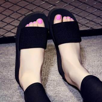 Moonar ผู้หญิงฤดูร้อนรองเท้าชายหาดลำลองรองเท้าแตะลื่นบนรองเท้าแตะแพลตฟอร์ม (สีดำ) - สนามบินนานาชาติ