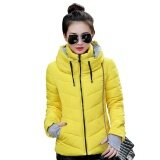 ราคา Moonar Women Winter Warm Long Sleeve Stand Collar Hooded Thick Slim Solid Color Short Cotton Coat Yellow Intl ใน จีน