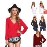 โปรโมชั่น Moonar Women S Fashion Long Sleeve V Neck Chiffon Blouse Tops T Shirt Size S Xl Red Intl Moonar