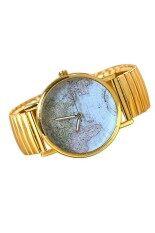ซื้อ Moonar World Map Unisex Watch Gold Moonar ถูก
