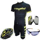 ขาย Morning ชุดปั่นจักรยานผู้ชาย Strongwind สีดำ เหลือง หมวกจักรยาน สีเหลือง ถุงมือฟรีไซส์ สีเหลือง แว่นตาปั่นจักรยาน สีดำ ราคาถูกที่สุด