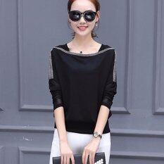 ราคา Mosha Fashions เสื้อแฟชั่น แขนยาวซีทรู แต่งเส้นรอบคอ สีดำ รหัส Flo901 เป็นต้นฉบับ