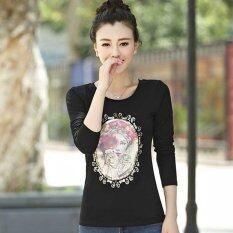 ซื้อ Moshafashion เสื้อแขนยาว คอกลม รูปหน้าผู้หญิง สีดำ รหัส Flfm 01