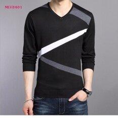ราคา Moshafashions เสื้อผู้ชาย คอวี แขนยาว สีดำ รหัส Mlv2401
