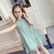 ซื้อ Mq009 เด็กฤดูร้อนแขนกุดชุดเจ้าหญิง Cheongsam สีเขียว ใหม่ล่าสุด