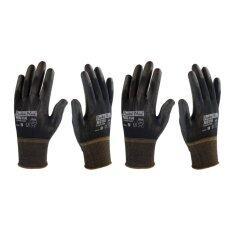 Ms114 Black Pu Palm Coated Glove (2 คู่) ถุงมือผ้าถักบางเฉียบ เคลือบพียูสีดำ.