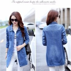 โปรโมชั่น Mu Womens Korean Fashion Long Denim Jacket Ladies Girls Classicalcasual Slim Fit Denim Coat Blue Intl Unbranded Generic ใหม่ล่าสุด