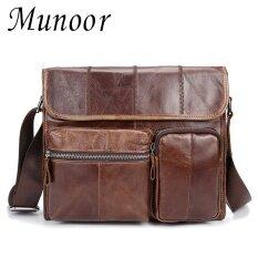 ซื้อ Munoor กระเป๋าหนังวัวแท้ 100 กระเป๋าสะพายชาย Cross Body กระเป๋าเดินทางผู้ชายกระเป๋า ออนไลน์