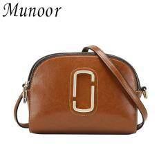 ราคา Munoor 100 กระเป๋าหนังวัวแท้ Cross Body กระเป๋า Casual ไหล่กระเป๋าเดินทาง สีน้ำตาล ที่สุด