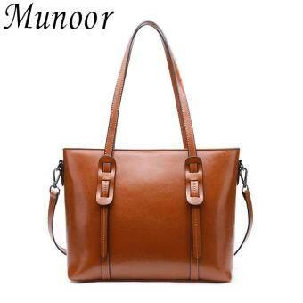 Munoor High Quality 100% Genuine Cow Leather Women Top Handle Tote Bag- intl