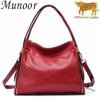 Munoor คุณภาพสูงหนังวัวแท้สตรีหนังวัวแท้ 100% กระเป๋า beg -นานาชาติ