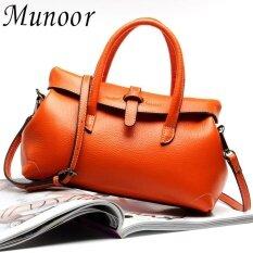 ราคา Munoor High Quality 100 Genuine Leather Women Tote Top Handle Bags Beg Kulit Tulen Tas Kulit Asli Tui Da Chinh Hang กระเป๋าหนังแท้ Orange Intl Munoor