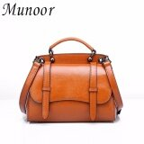 Munoor Italian 100 Genuine Cow Leather Women Top Handle Bags Fashionable Lady Shoulder Bags Brown Intl Munoor ถูก ใน จีน