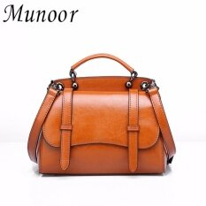 ขาย Munoor Italian 100 Genuine Cow Leather Women Top Handle Bags Fashionable Lady Shoulder Bags Brown Intl Munoor เป็นต้นฉบับ