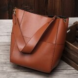 Munoor Italian 100 Genuine Cow Leather Women Tote Bags Fashionable Handbags Shoulder Bag For Travel Brown Intl เป็นต้นฉบับ