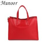 ซื้อ Munoor Italian 100 Genuine Cow Leather Women Tote Bags Shoulder Bags Crossbody Travel Holder Red Intl ถูก