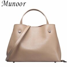ซื้อ Munoor Women Shoulder Bags 100 Genuine Cow Leather Elegant Handbags Fashionable Tote Bags Khaki Intl Munoor