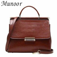 ซื้อ Munoor Women Top Handle Bags 100 Genuine Cowhide Leather Fashionable Sling Shoulder Bags Chest Bags Brown Intl Munoor เป็นต้นฉบับ