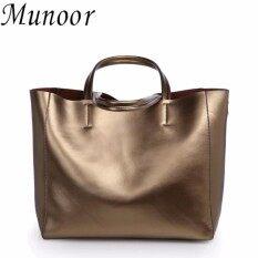 ราคา Munoor Womens Tote Bags 100 Genuine Cowhide Leather Fashionable Shoulder Lady Bags Handbags For Travel Champagne Intl เป็นต้นฉบับ