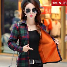 ขาย ซื้อ เสื้อเชิ้ตเกาหลีเสื้อบวกกำมะหยี่แขนยาวหญิง N 03 ยืดกำมะหยี่