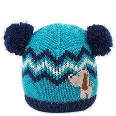 NADA Kid หมวกไหมพรมกันหนาวสีฟ้า มีพู่ 2 ด้าน รุ่น Nadakid-050