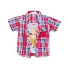 เสื้อเชิ้ตสก๊อตแดง มีเสื้อยืดในตัว รุ่น Nadakid-264