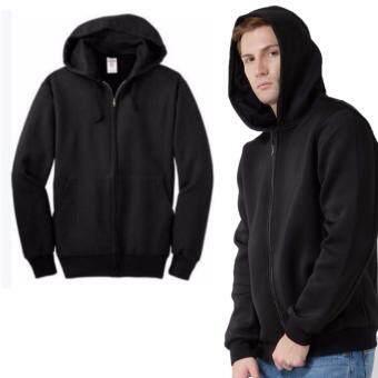 Namita Jacket เสื้อฮู้ด เสื้อแจ็คเก็ต แบบมีซิป แฟชั่นเกาหลี สีดำ unisex