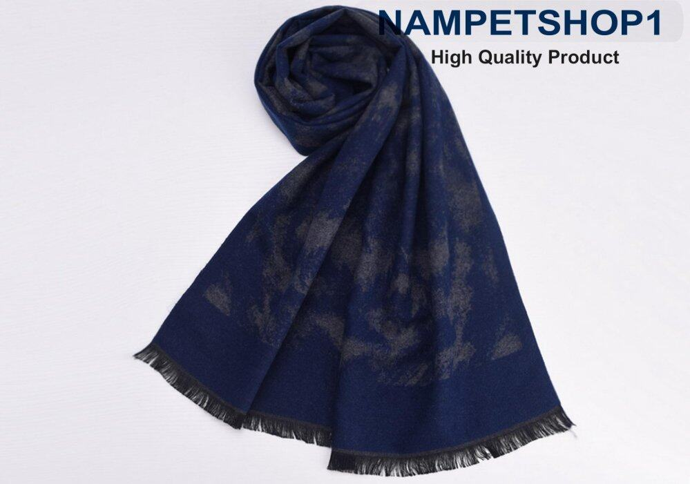 Nampet Shop  ผ้าพันคอผู้ชาย Autumn and winter British business men scarf (West Grand – West Grand – Blue Black)(Int: One size)