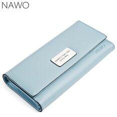 ราคา Nawo Women S Genuine Leather Clutch Magic Buttons Long Wallet Fashion Zipper Purse Coin Pocket Intl Nawo ใหม่