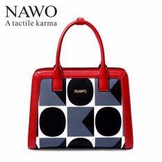 โปรโมชั่น Nawo Women S Genuine Cow Leather Handbag Fashion Top Handle Bag Black Intl จีน