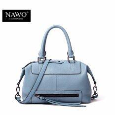 ราคา ราคาถูกที่สุด Nawo Women S Genuine Cowhide Leather Handbag Fashion Shoulder Bag Blue Intl