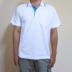 ขาย เสื้อยืดคอปก คอโปโล ขนาดผู้ชาย มีกระเป๋าหน้า สีขาว ปกขลิบฟ้า ถูก กรุงเทพมหานคร