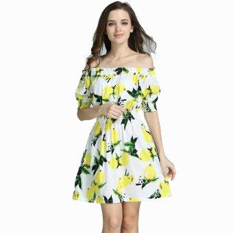 New 2017 Plus Size Cotton Autumn Summer Women Dress Short Sleeve Casual Sexy Wide Boat Neck Dresses (yellow) - intl
