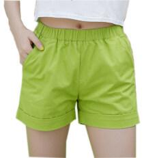 ขาย ใหม่ฤดูร้อน 2017 ลูกอมสีกางเกงขาสั้นผู้หญิงสไตล์ลำลองผู้หญิงกางเกงขาสั้นขายร้อนบวกขนาดฝ้ายกางเกงขาสั้นหญิง สีเขียว นานาชาติ
