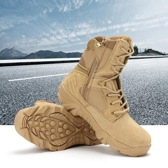 New Army Tactical Desert Mens Leather Combat Boots Military Shoes Soldier Sand - intl