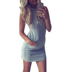 ขาย New Arrival Sunweb New Fashion Women Hooded Sleeveless Casual Mini Dress Grey Intl ใหม่