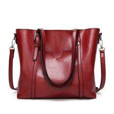 โปรโมชั่น New Fashion Handbags Big Bag Wild Shoulder Women Messenger Bag Simple Oil Wax Leather Portable Intl ถูก