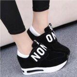 ขาย ใหม่แฟชั่นรองเท้าผ้าใบกรีฑา Breathable ลูกไม้ขึ้นลำลองผู้หญิงรองเท้าสีดำ ผู้ค้าส่ง