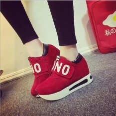 ขาย ใหม่แฟชั่นรองเท้าผ้าใบกรีฑา Breathable ลูกไม้ขึ้นลำลองรองเท้าผู้หญิงสีแดง ใหม่