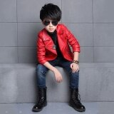 ขาย ซื้อ New Fashion Spring Girls Boys Leather Jacket Coat Autumn Fashion Kids Solid Full Sleeve Outerwear Jacket Red Intl ใน จีน