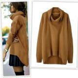 ราคา New Fashion Women Casual Turtleneck Long Sleeve Solid Asymmetrical Hem Pullover Sweater Intl