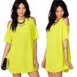 ส่วนลด New Fashion Women Off Shoulder Chiffon Loose Casual Mini Dress