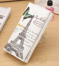 ซื้อ New Fasshion Women S Wallet Lady S Long Wallet 2 Folding Wallet Clutch Card Holder Printing Design Wallet Purse Handbag Color Style Beige Butterfly Tower Pattern B094 ถูก จีน