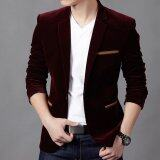 New Hot Men S Fashion Slim Fit Stylish Casual Dress Corduroy Suit Blazer Coats Jackets Wine Red Unbranded Generic ถูก ใน จีน