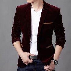 ขาย New Hot Men S Fashion Slim Fit Stylish Casual Dress Corduroy Suit Blazer Coats Jackets Wine Red Unbranded Generic ถูก
